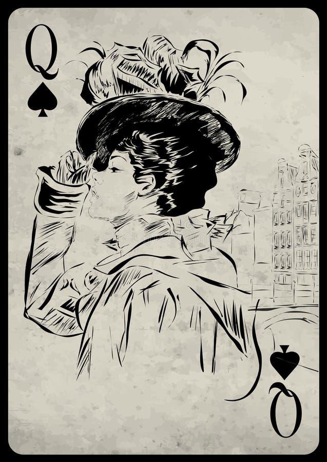 Das Mädchen im Retrostil Spielkarte stock abbildung