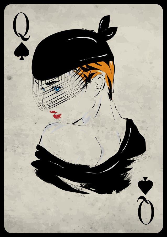 Das Mädchen im Retrostil Spielkarte lizenzfreie abbildung