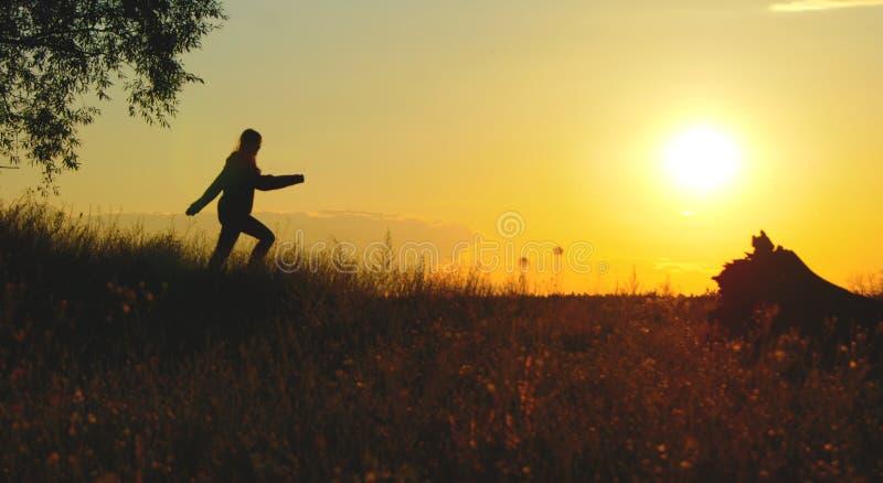 Das Mädchen läuft bei Sonnenuntergang stockfotografie