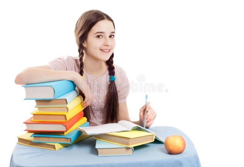 Das Mädchen mit Büchern lizenzfreies stockfoto