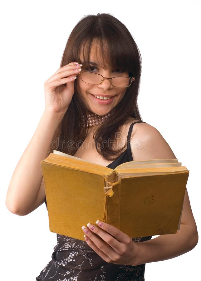 Das Mädchen mit Buch stockfotos