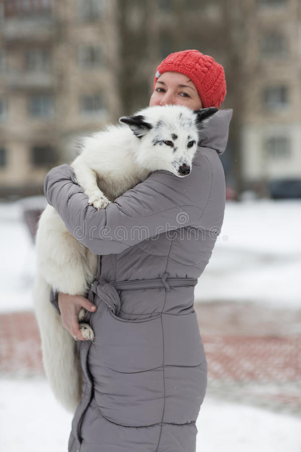 Das Mädchen mit dem Fox stockfoto