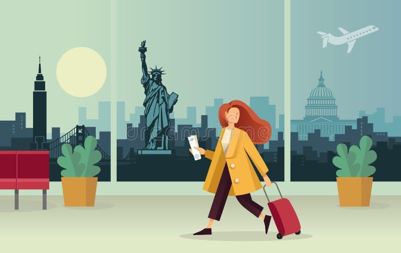 Das Mädchen mit dem Koffer am Flughafen Vor dem hintergrund eines abstrakten Panoramas des U S anziehungen lizenzfreie abbildung