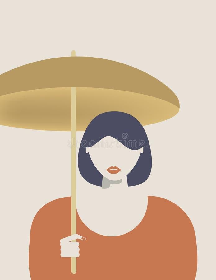 Das Mädchen mit dem Sonnenschirm lizenzfreie abbildung