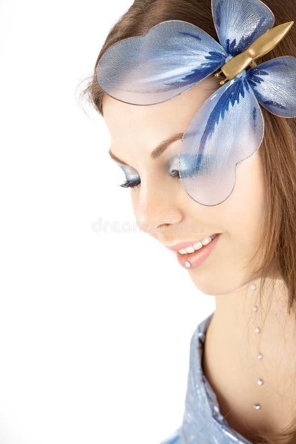 Das Mädchen mit der Basisrecheneinheit lizenzfreies stockfoto