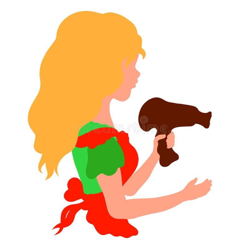 Das Mädchen mit einem ausgezeichneten angemessenen Haar hält in den Händen den Haartrockner, den Friseur lizenzfreie abbildung