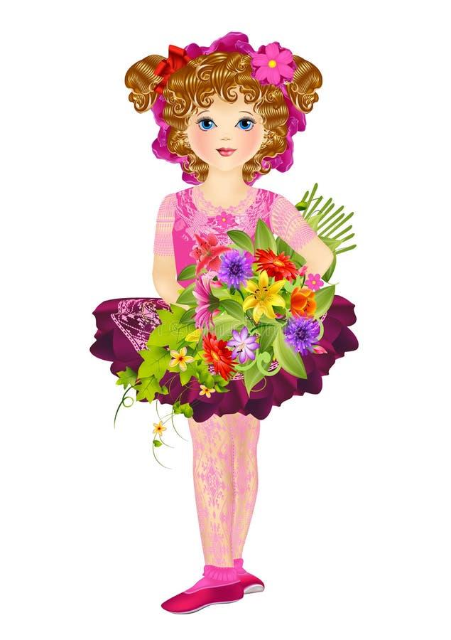 Das Mädchen mit einem Blumenstrauß stockbild