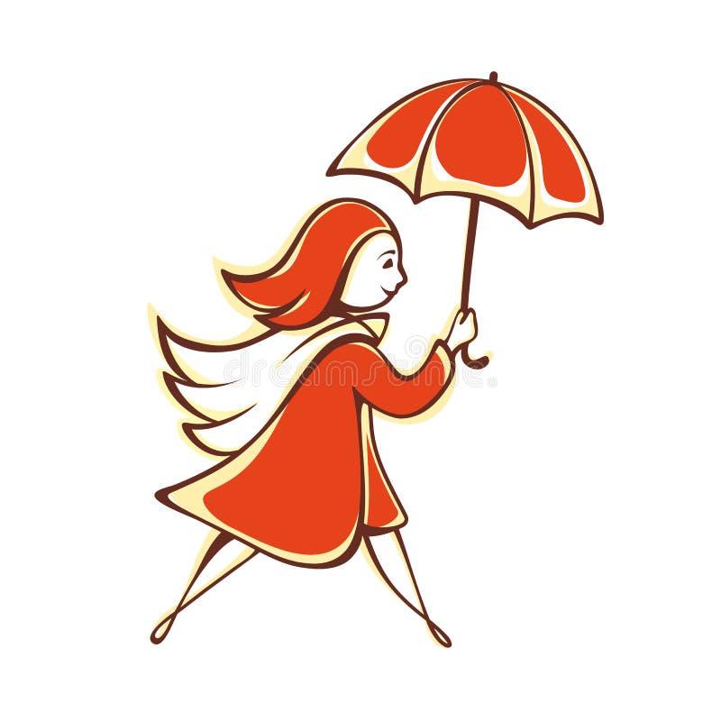 Das Mädchen mit einem orange Regenschirm emblem pictogram ikone stock abbildung