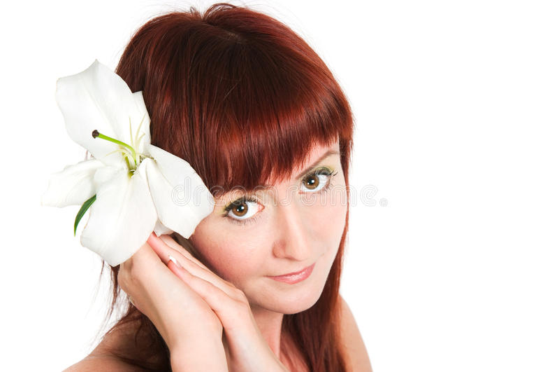 Download Das Mädchen Mit Einer Lilienblume Stockfoto - Bild von sensuality, portrait: 27726884