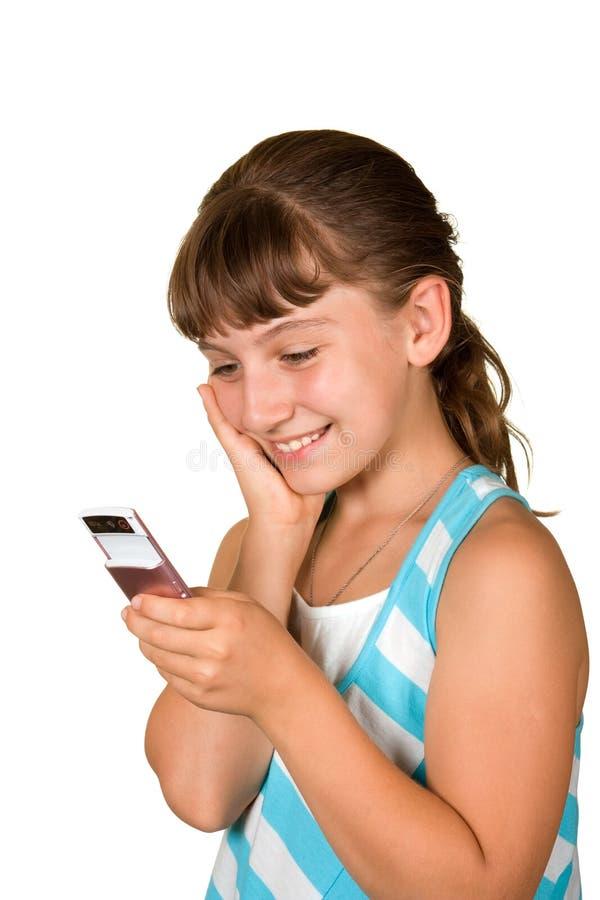 Das Mädchen mit Handy stockfotos