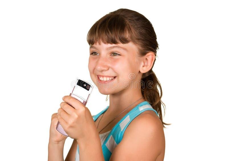 Das Mädchen mit Handy lizenzfreie stockfotos