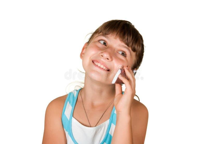 Das Mädchen mit Handy stockbild