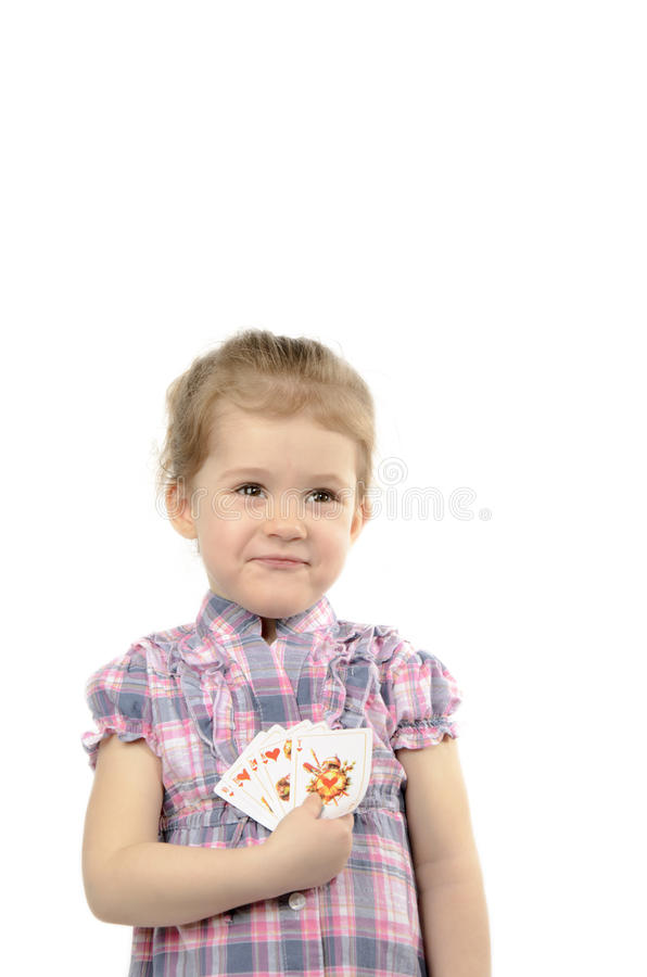 Das Mädchen mit Karten lizenzfreie stockbilder