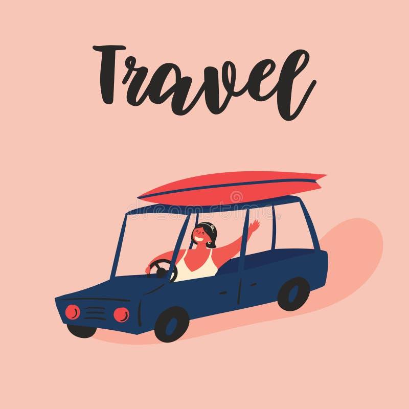 Das Mädchen reist mit einem Auto, Surfbrett auf dem Dach vektor abbildung