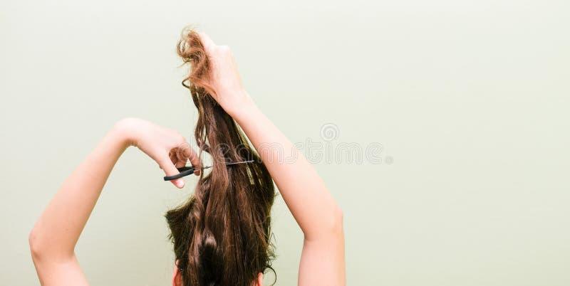Das Mädchen schneidet ihr Haar mit Scheren Das Konzept der Mode und der Sorgfalt Frau schneidet ihr langes Haar lizenzfreie stockfotografie