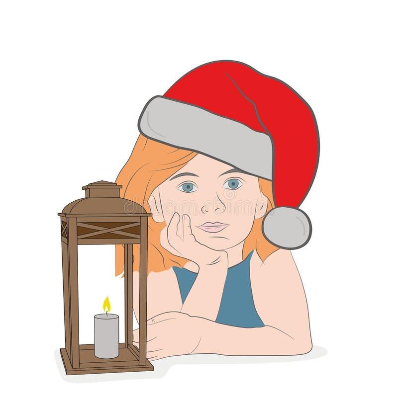 Das Mädchen sitzt durch die Lampe im Weihnachtshut und wartet auf die Feiertage Konzept von Feiertagen des neuen Jahres und des W vektor abbildung