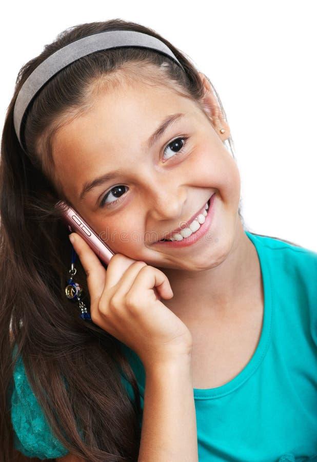 Das Mädchen Spricht Durch Telefon Stockfotos