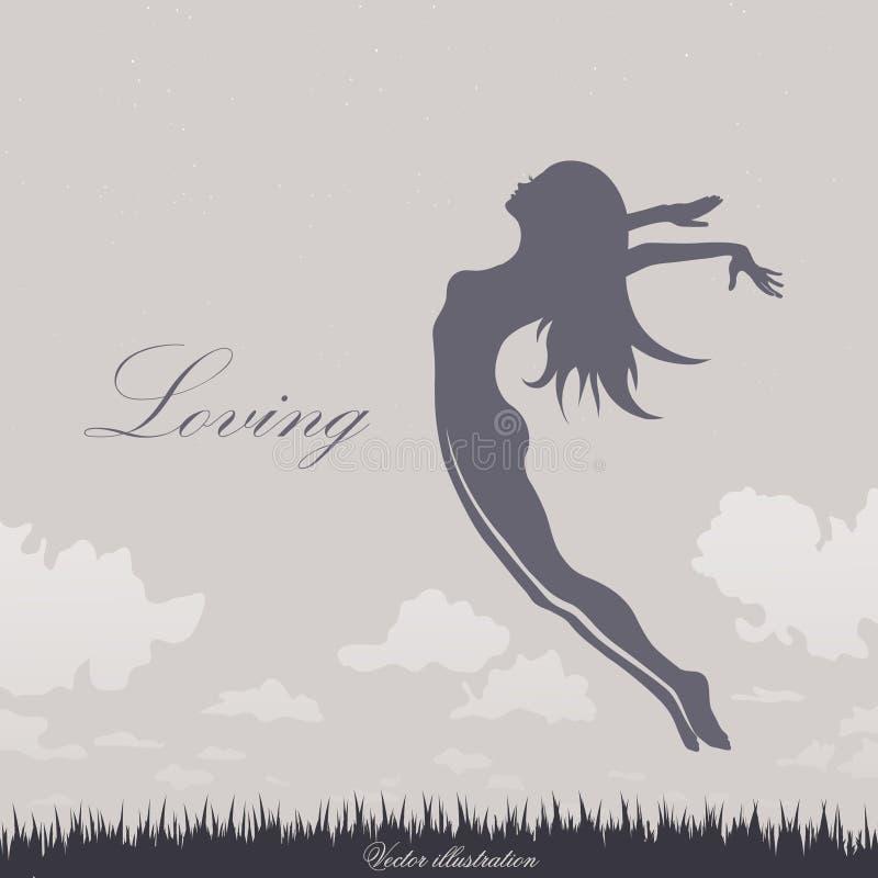 Das Mädchen springend in den Himmel vektor abbildung