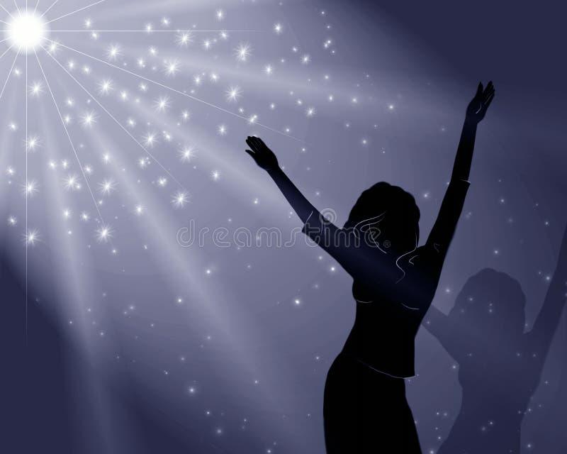 Das Mädchen tanzt in magische Leuchte vektor abbildung