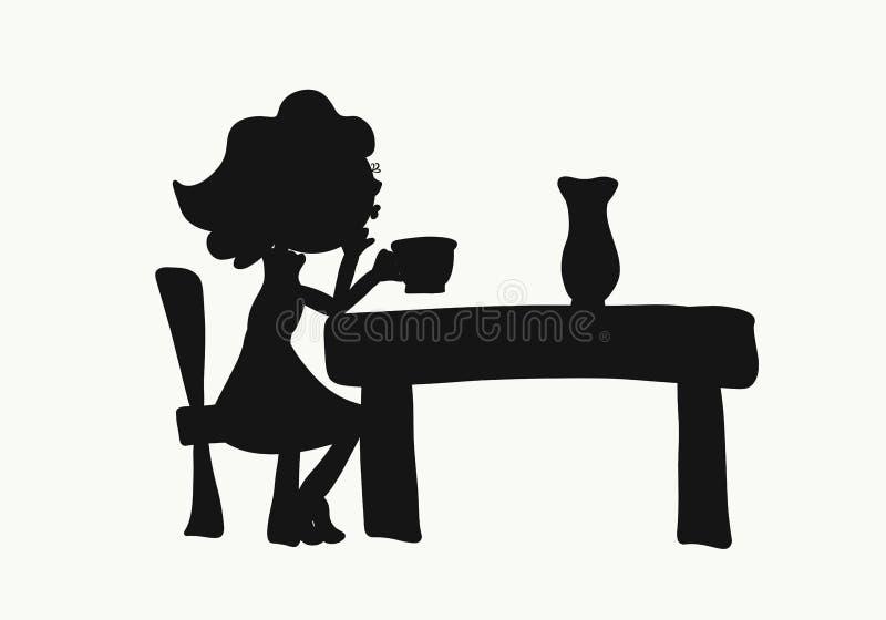 Das Mädchen, das am Tisch mit einer Schale in ihrer Hand, brennend, e sitzt durch lizenzfreie abbildung