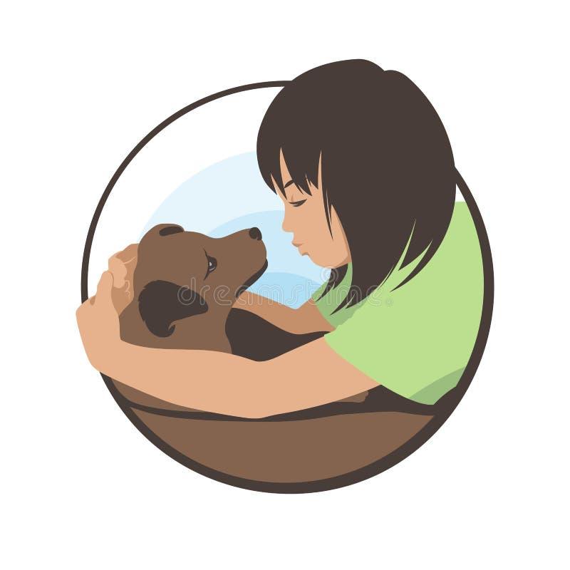 Das Mädchen umarmt ihren geliebten Hund und bewundert sie Sonnenkollektor und Zeichen f?r alternative Energie Auf lagervektorabbi vektor abbildung