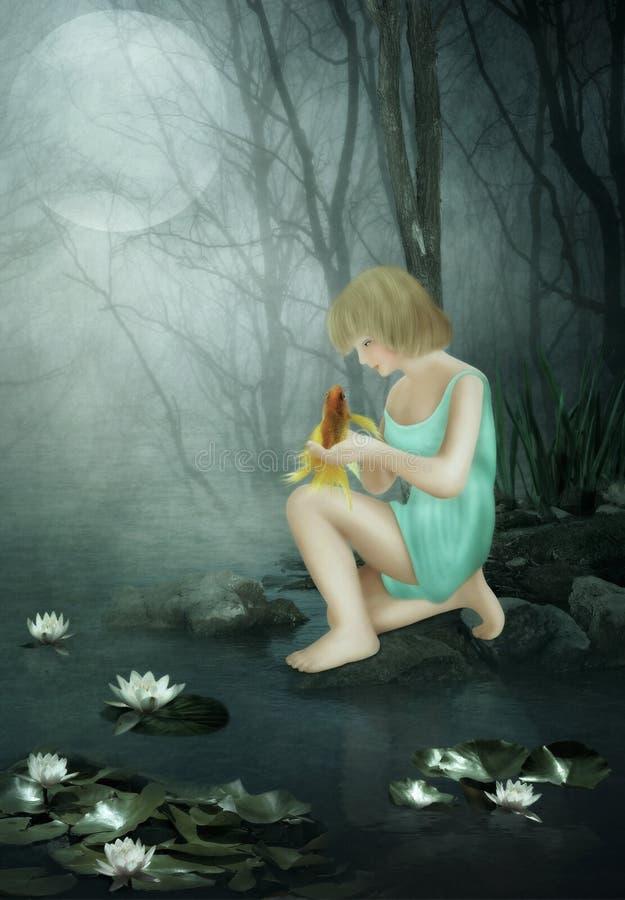 Das Mädchen und der Goldfisch stockbild