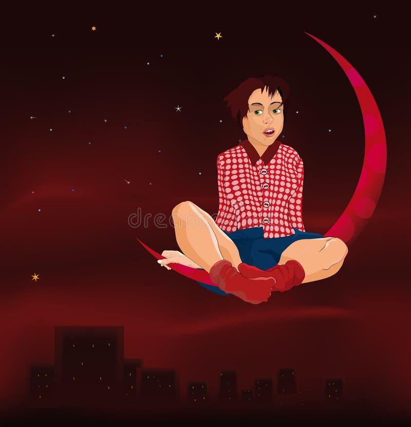Das Mädchen und der Mond stock abbildung