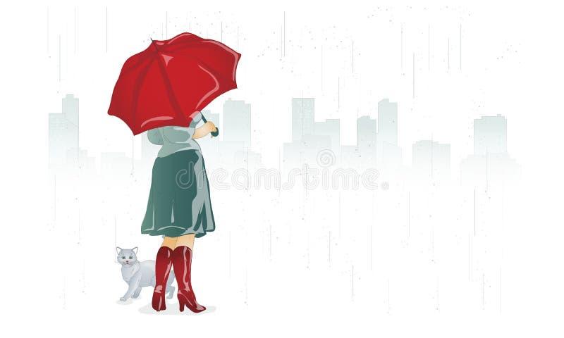 Das Mädchen und die Katze haben sich von einem Regen unter einem Regenschirm versteckt lizenzfreie abbildung