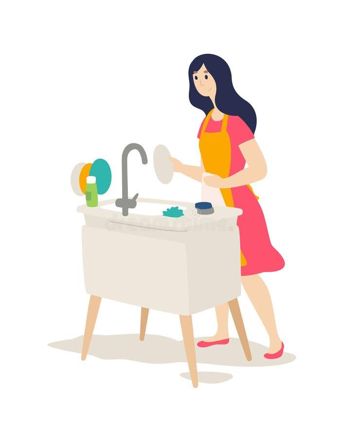 Das Mädchen wäscht die Teller Vektor Flache Karikaturart Der Wächter des Herds tut Hausarbeit Eine junge Frau wischt ihre Teller  stock abbildung
