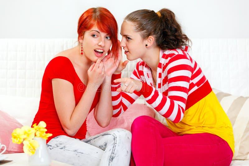 Das Mädchenflüstern klatscht ihre interessierte Freundin lizenzfreies stockbild