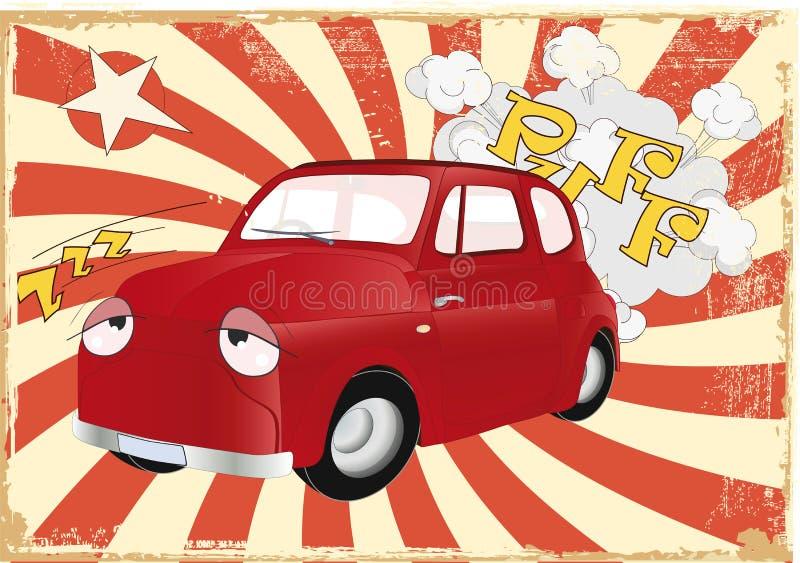 Das müde alte Autobekanntmachen lizenzfreie abbildung