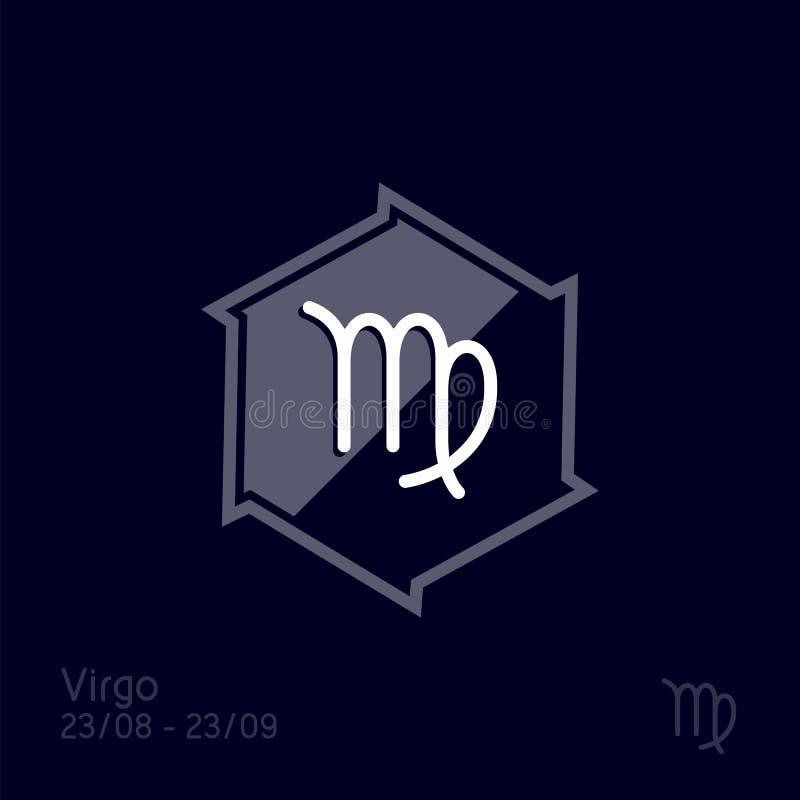 Das M?dchen im griechischen chiton und im fl?ssigen Haar  Stellung Astrologiesymbol-Vektorillustration stock abbildung