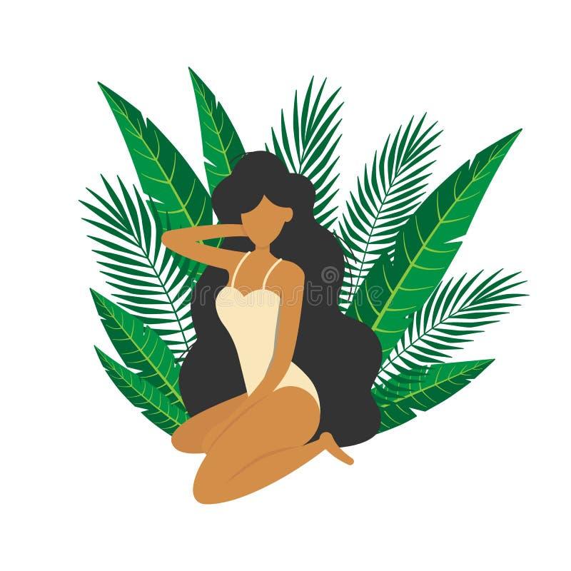 Das M?dchen, das unter tropischen Bl?ttern sitzt, machen Entwurf Urlaub vektor abbildung