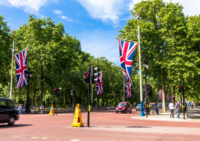 Das Mall, Straße vor Buckingham Palace in London stockfoto