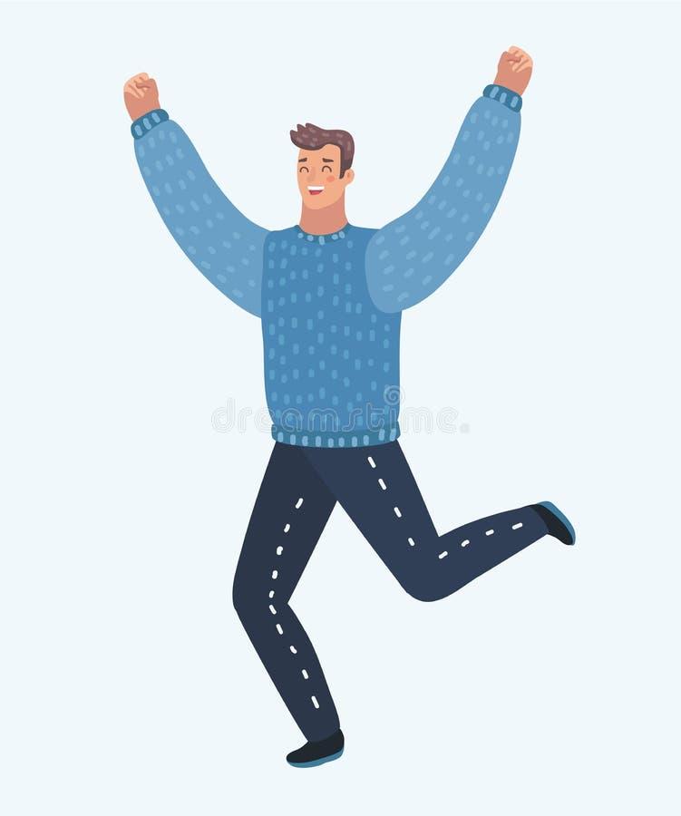 das Mannspringen laufen gelassen für Freude lizenzfreie abbildung