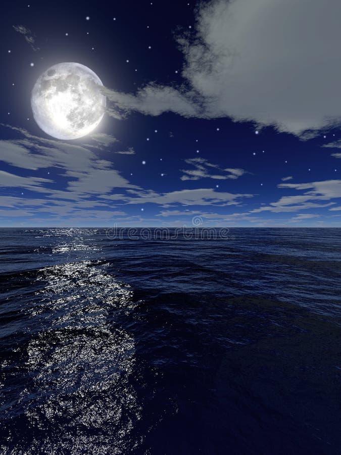 Das Meer bis zum Nacht stock abbildung