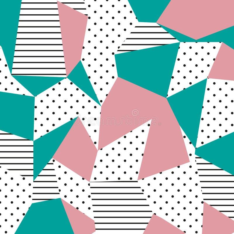 Das Memphis-Muster Neigen des abstrakten Designs mit unregelmäßigen Formen, Punkten und Linien lizenzfreie abbildung