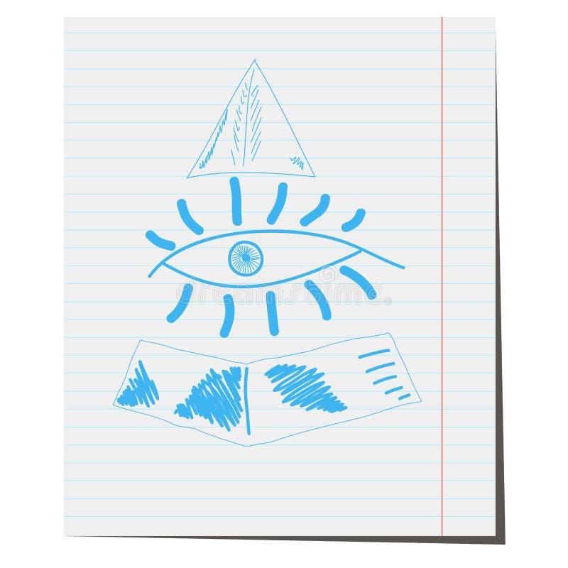 Das menschliche Auge auf dem Hintergrund der Pyramide, vektor abbildung