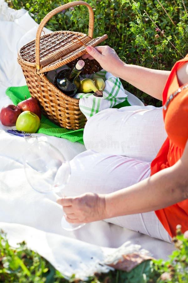Download Das Mittagessen Draußen Genießen, Picknick Stockfoto - Bild von behälter, glas: 27733854