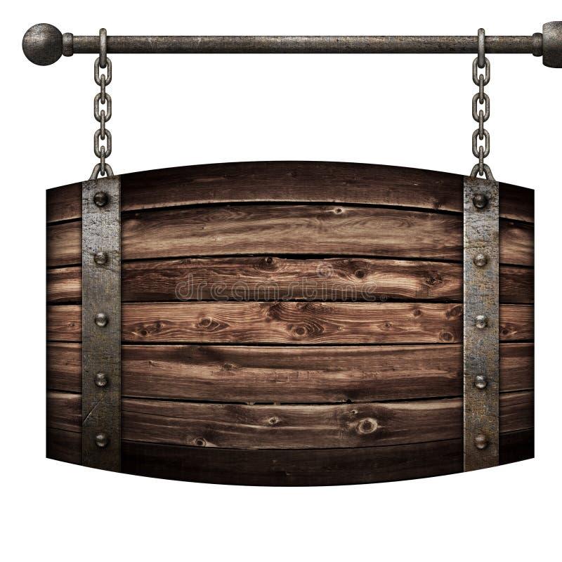 Das mittelalterliche Schild des hölzernen Fasses, das an den Ketten hängt, lokalisierte Illustration 3d stockbild