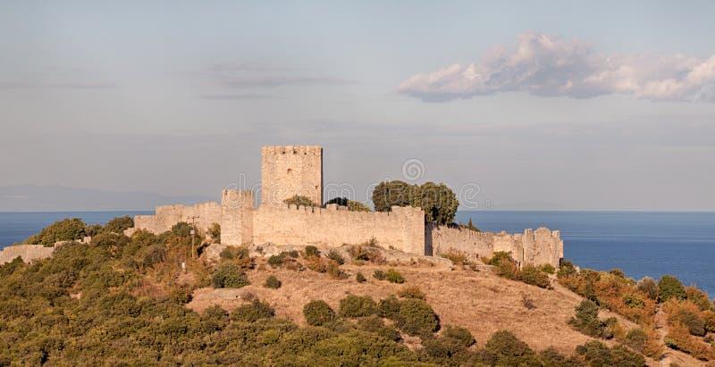 Das mittelalterliche Schloss von Platamonas, Griechenland lizenzfreie stockbilder