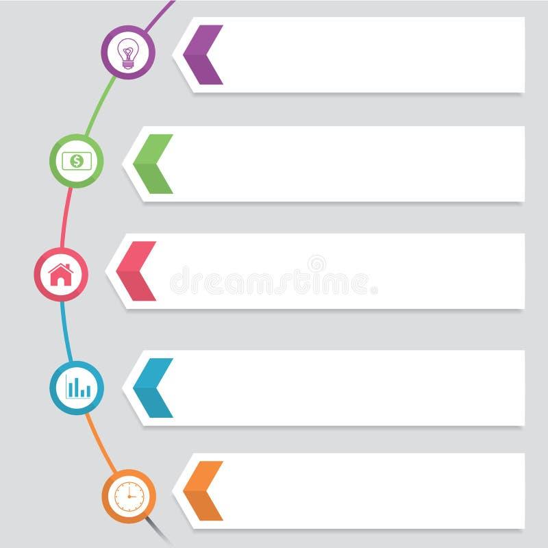 Das moderne runde Hexagon drehen Schritt-Geschäft Infographic-Diagramm-Vektor-Design-Schablone lizenzfreie abbildung