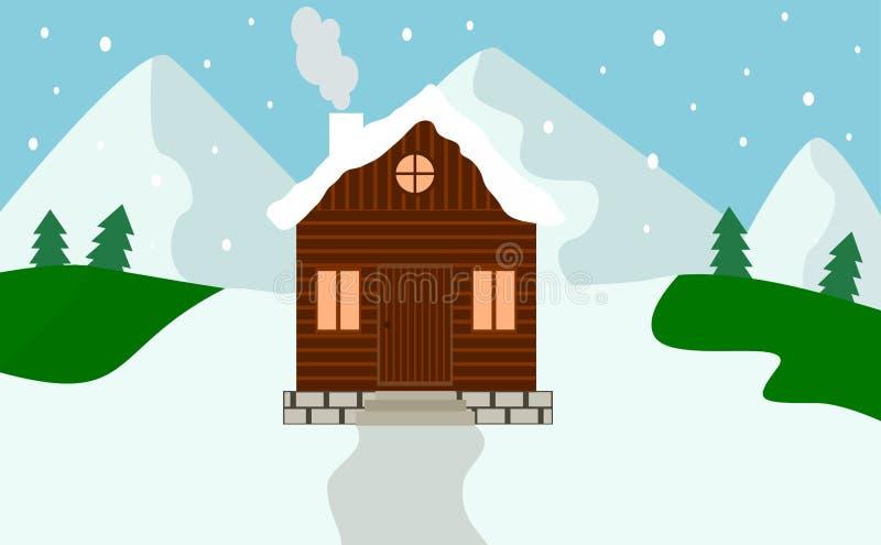 Das montanhas de madeira da floresta da neve da casa do inverno vetor liso ilustração stock