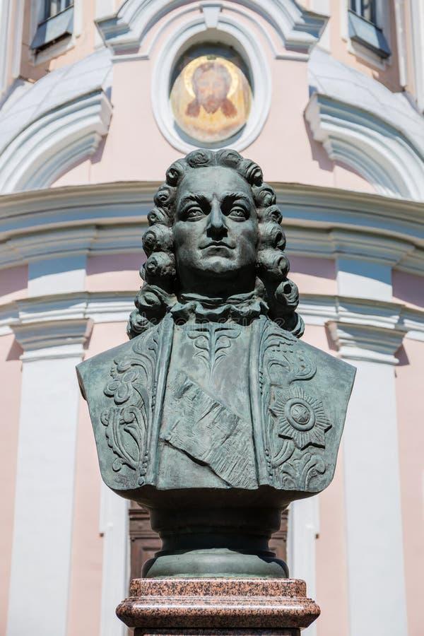 Das Monument zum ersten Kavalier der Bestellung von St. Andrew Golovin in St Petersburg lizenzfreie stockbilder