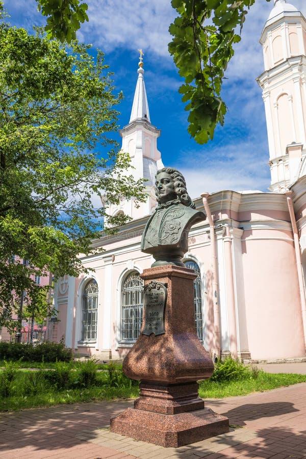 Das Monument zum ersten Kavalier der Bestellung von St. Andrew Golovin in St Petersburg lizenzfreie stockfotos