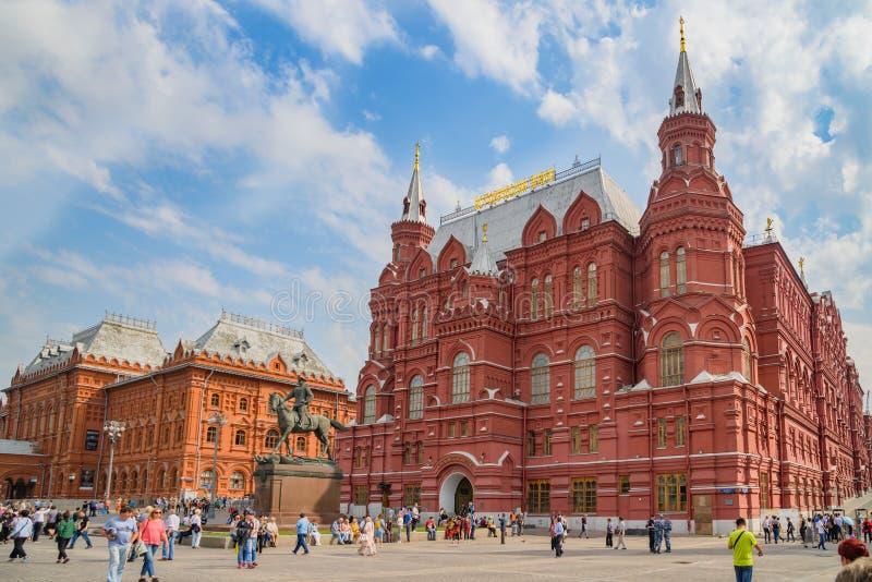 Das Museum der Revolution, das Lenin-Museum und der Eck-Arsenalnaya-Turm vom Kreml, Moskau lizenzfreie stockfotografie