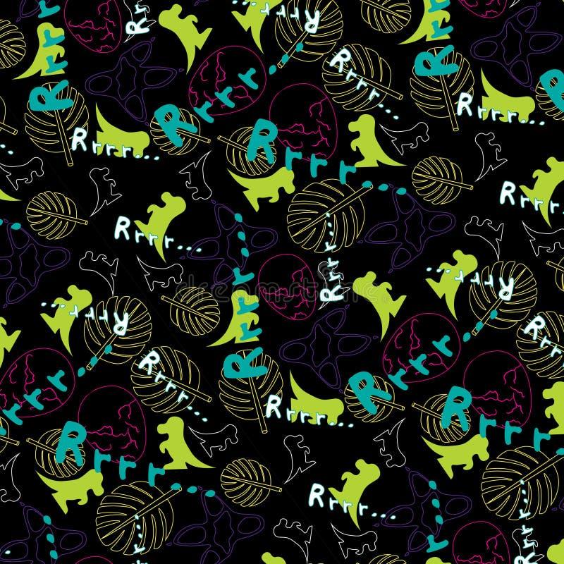 Das Muster der nette Kinder mit dem Bild von Dinosauriern lizenzfreies stockfoto