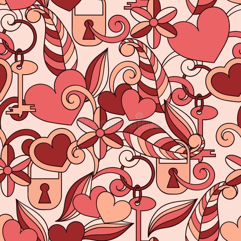 Das Muster des Vektor-nahtlosen Valentinsgrußes vektor abbildung