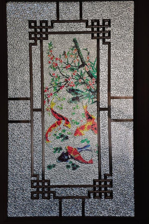 Das Muster einer Art Mattglas mit chinesischer Art lizenzfreies stockbild