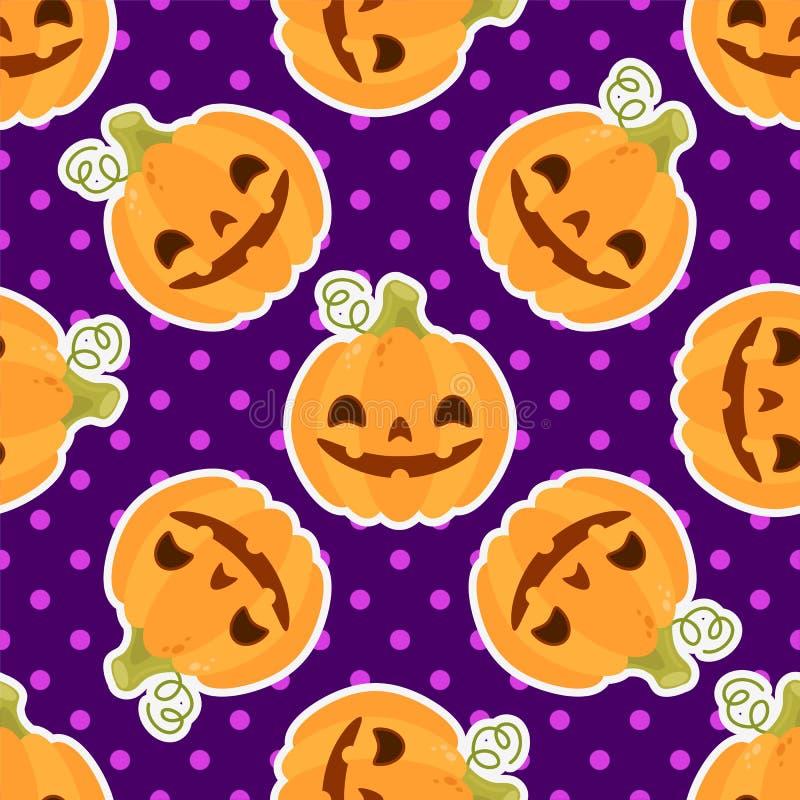 Das Muster mit Kürbisen für Halloween auf einem purpurroten Hintergrund lizenzfreie abbildung
